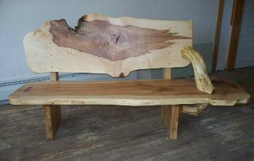 Maple slab bench, Hardwood, Rustic