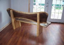 Wood slab walnut Bench, Hickory Base